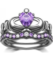 14k black gold finish amethyst & simulated diamond claddagh heart ring