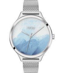 hugo smash mesh strap watch, 36mm in silver/blue/silver at nordstrom