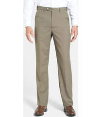 men's berle self sizer waist tropical weight flat front classic fit dress pants, size 32 x - green