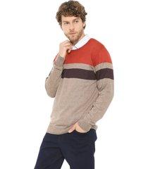suéter forum tricot listrado laranja/marrom - kanui