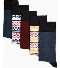 mens multi fair isle socks 5 pack