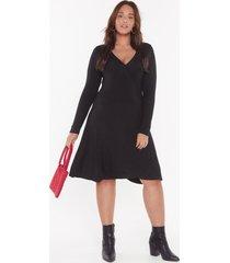 womens a plus looks wrap jersey dress - black