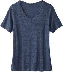 linnen t-shirt met v-hals, indigo 36/38