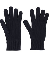 moncler ribbed-knit wool gloves - blue