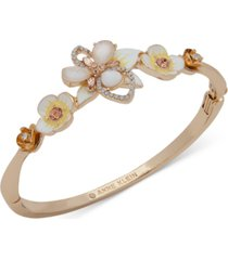 anne klein gold-tone crystal, stone & mother-of-pearl 3d flower bangle bracelet