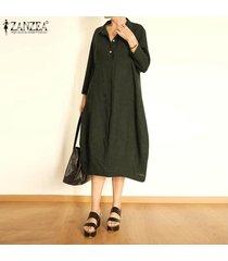 zanzea las mujeres con cuello en v botones gira el collar abajo camisa de vestir de gran tamaño más el tamaño de vestido de midi -ejercito verde