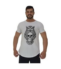 camiseta longline alto conceito owl and skull branco