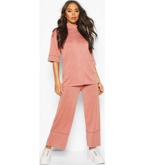 high waisted culottes with contrast stitching, rose