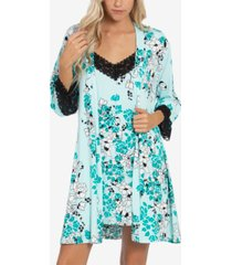 linea donatella 2-pc. printed chemise & wrap robe set