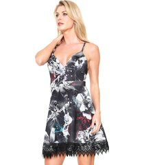 vestido lança perfume curto lady like preto