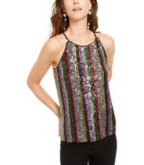 inc petite sequinned striped top, created for macy's