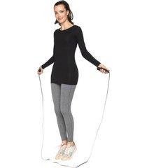 camiseta fitness básica manga longa - preta - p
