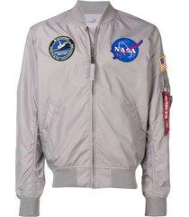 alpha industries grey ma-1 parachute bomber jacket