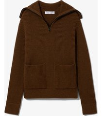proenza schouler white label chunky rib half zip knit cardigan fatigue mouline/brown l