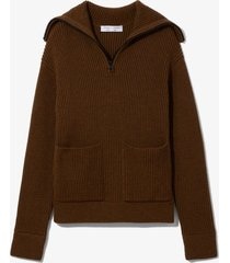 proenza schouler white label chunky rib half zip knit cardigan fatigue mouline/brown l