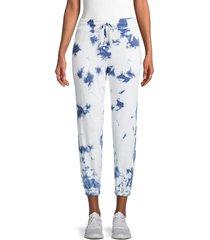 splendid women's tie-dyed jogger pants - navy white - size xs