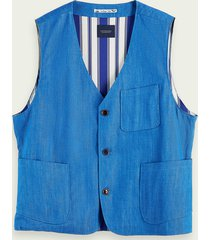scotch & soda denim gilet van 100% katoen