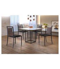 conjunto de mesa de jantar hera com tampo de vidro mocaccino e 4 cadeiras grécia ii couríssimo preto