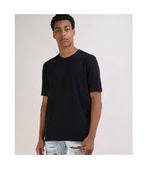 camiseta masculina box ampla manga curta gola careca preta