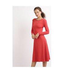 vestido feminino midi canelado manga longa vermelho