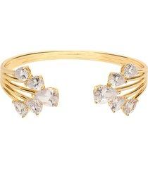 bracciale rigido in ottone dorato con zirconi per donna