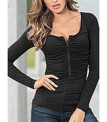 camiseta de manga larga con pliegues en la parte delantera y cremallera negra