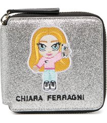 chiara ferragni embroidered patch detail purse - silver