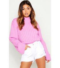 geribbelde maxi trui met wijde mouwen, cherub roze