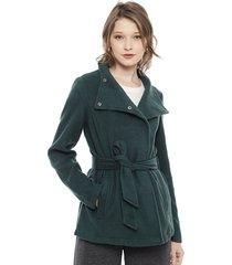 abrigo vero moda brushed myra verde - calce regular