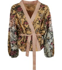 belt-tie v-neck cardigan
