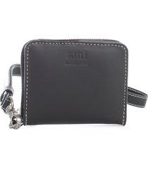 ami alexandre mattiussi compact wallet w/leather strap smooth vegetable leather