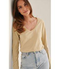 trendyol lång ärm t-shirt - beige