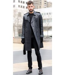 men leather coat winter long  leather coat genuine real leather trench coat-uk24