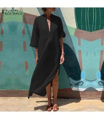 zanzea mujeres de profundo v 3/4 de manga larga vestido de algodón de las señoras de split suelta el vestido maxi kaftan -negro