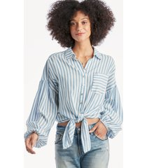 the good jane women's breeze lewis shirt in color: blue/white stripe size large from sole society