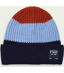scotch & soda colour block knitted beanie