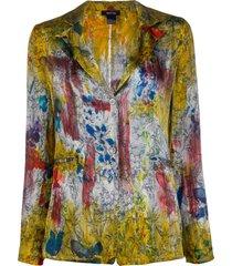 avant toi printed distressed style blazer - gold