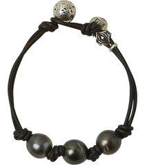 tahitian pearl doubel leather bracelet