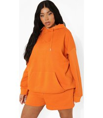 plus oversized geborduurde hoodie, orange