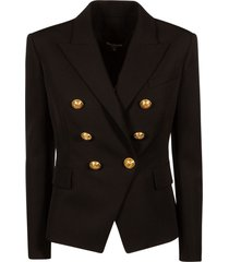 balmain double-breasted short blazer