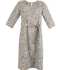 jurk in a-lijn van bio-katoen met bindceintuur en geplooide hals, zeegras-motief 46
