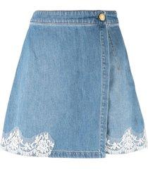 ermanno ermanno lace-panelled wrap shorts - blue