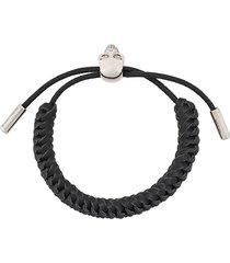 alexander mcqueen woven skull bracelet - black