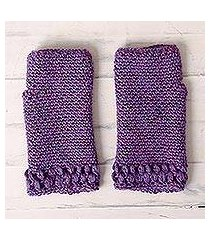 100% alpaca fingerless gloves, 'berry patch' (peru)