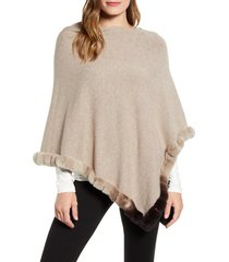 women's la fiorentina knit poncho with genuine rabbit fur trim, size one size - beige