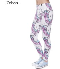 printed trousers pink white unicorn legging slim high waist legins women pants