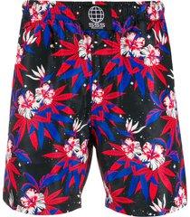 sss world corp space hibiscus swim shorts - black