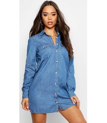 chambray denim shirt dress, mid blue