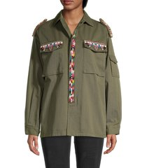 valentino women's embroidered cotton twill jacket - olive - size 6