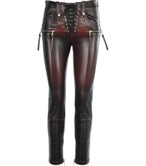 unravel stretch leather skinny lace-up trousers